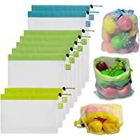 Brotrade Reusable Mesh Produce Bags Premium WashableBags with Tare Weight on Tags for Grocery Shopping Storage, Fruit, Vegetable, and Toys (Set of 12 PCS) …
