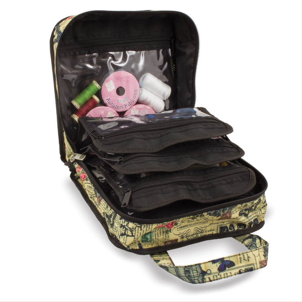 Sewing Accessories Case, Knitting and Craft Organiser Storage Bag in Paris Print by Roo Beauty Roo Beauty Ltd