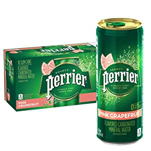 Perrier Pink Grapefruit Flavored Carbonated Mineral Water, 8.45 fl oz. Slim Cans (pack of 10)