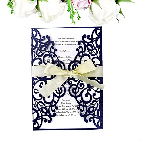 amazon com ponatia 25pcs laser cut invitations card with ribbon for