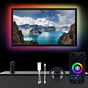 YUSING 6.56ft Smart TV LED Backlight Strip for 32-58 inch TV/Monitor Backlight, Strip Lights Compatible with Alexa Google Home, 16 Million Colors Bright 5050 LEDs