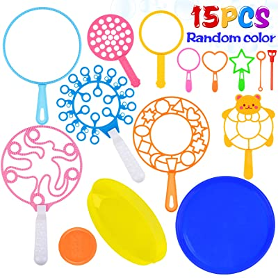 Kapmore 15PCS Bubble Wand Set Bubbles Wand Assortment Bubble Toys Set Assorted Types Bubble Making Bubble Maker Bubble Sticks: Everything Else