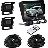"ATian 7"" LCD Monitor Screen & 2 x IR Car Rear View Reverse Camera Kit for truck Trailer Bus RV Vehicle"