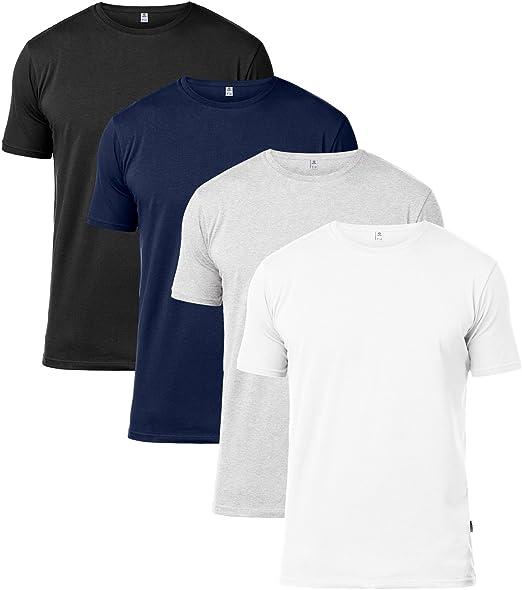 LAPASA Lot de 4 T Shirt Homme en Coton Ultra Doux et Confortable M34