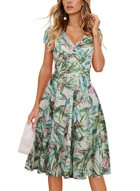 Ranphee Women Floral Casual Work Dresses V-Neck Cap Sleeve Knee Length Cotton Dress