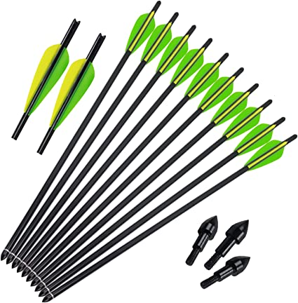 12pcs Aluminum 20 Inch Arrows with Field Points Bolts Tips for Crossbow Hunting
