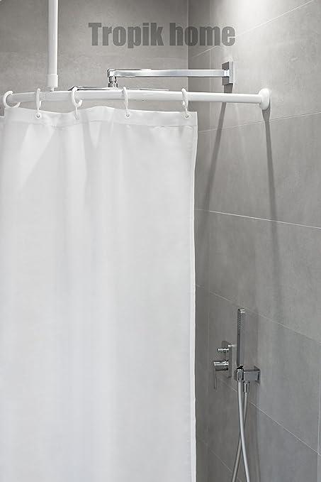 Tropik Home Curved Shower Curtain Rail Pole Rod With Ceiling Bracket And Hooks 80 X