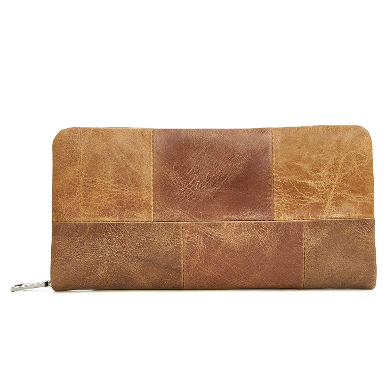 Adisaer-Cowhide Wallets for Men Long Wallet Lattice Stitch Long Square Credit Card Holder
