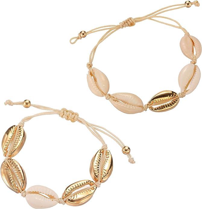 "red starfish anklet adjustable 6-10/"" ankle bracelet cord slide conch shell"
