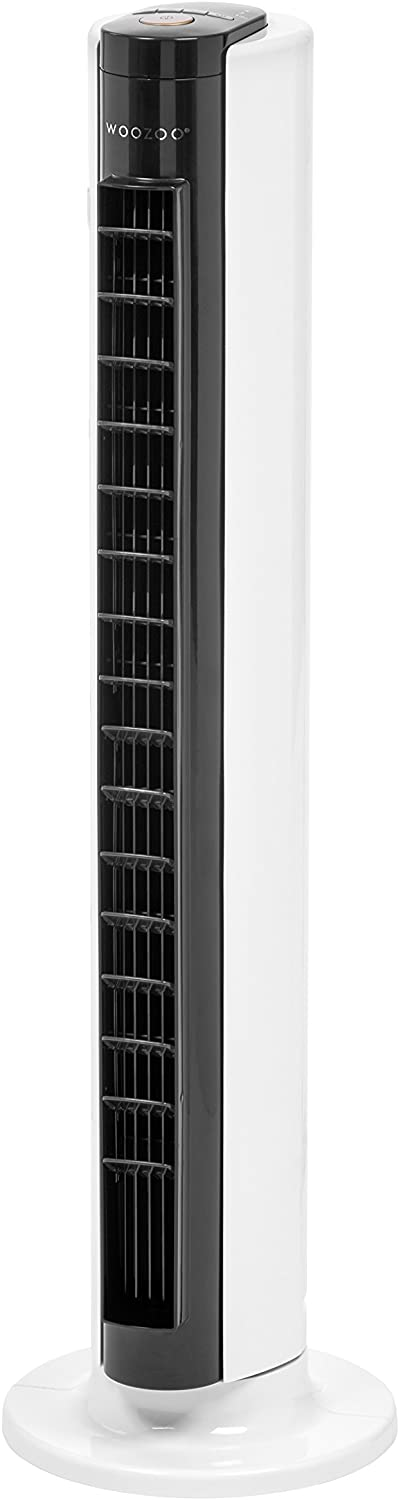"Woozoo Remote Controlled Oscillating Tower Fan w/Adjustable Vents, 31.5"", White/Black TWF-C81T 586814"