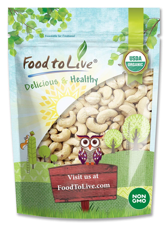 Organic Cashews, 4 Pounds - Whole, Size W-240, Unsalted, Non-GMO, Kosher, Raw, Vegan, Bulk