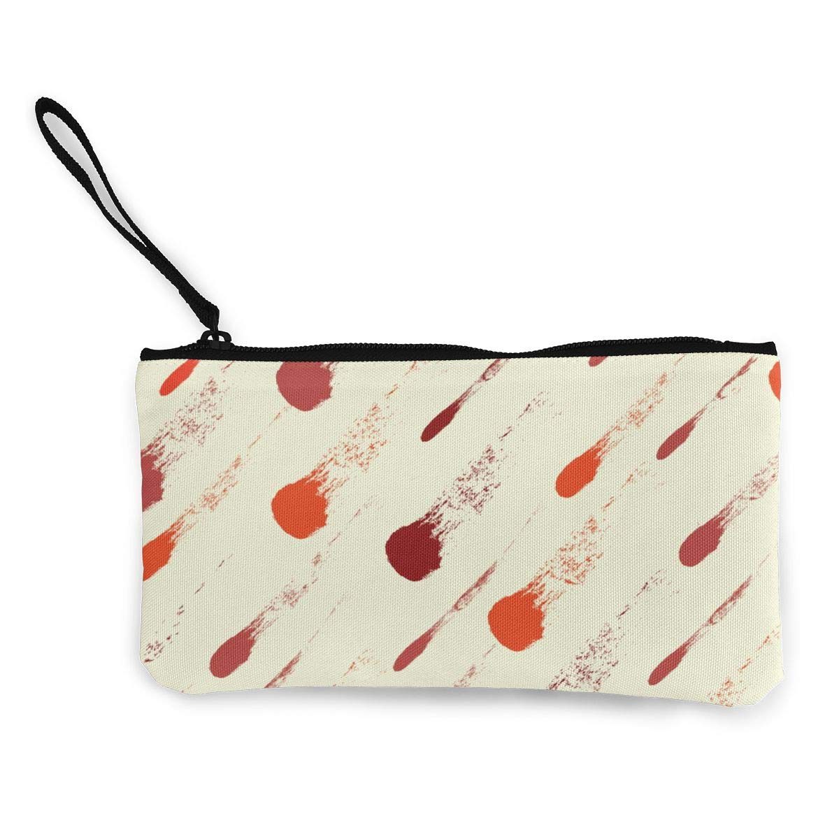 Red Lines Pattern Canvas Change Coin Purse Assorted Wallet Bag with Zip