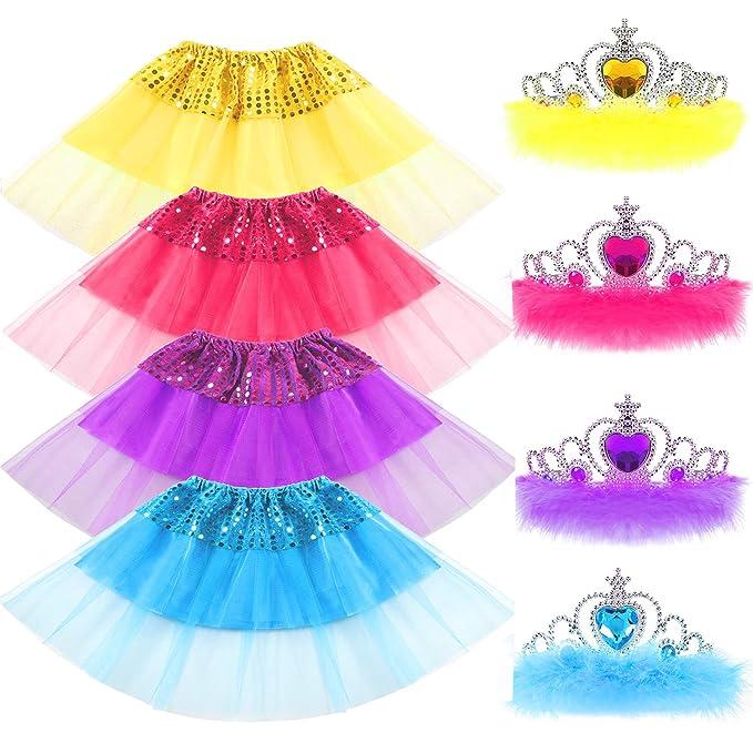 334db4183 VAMEI Tutu niña, 8pcs Princesa de niña de Lentejuelas Falda y Crystal Tiara  Crown Set Sparkling Kid Dress-up Faldas de Tul de Tutu Girl Outfits ...