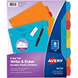 Avery 16130 Big Tab Write & Erase Durable Plastic Dividers, 8 Multicolor Tabs, 1 Set