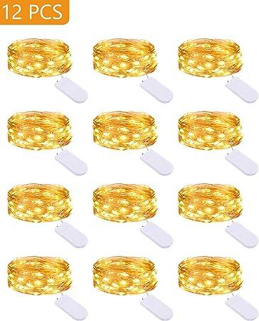 Litogo Luces Led Pilas (12 Pack), Mini Guirnalda Luces Pilas 2m 20 LED Cadena de Luces Tira de Luces LED Decoracion Habitacion para Boda, Fiestas, Cumpleaños, Navidad, Halloween (Interior/Exterior): Amazon.es: Bricolaje y