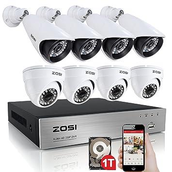ZOSI sistema de CCTV H.264 8 CH 720P DVR grabador 4 x 1280TVL impermeable bala cámara de vigilancia ...