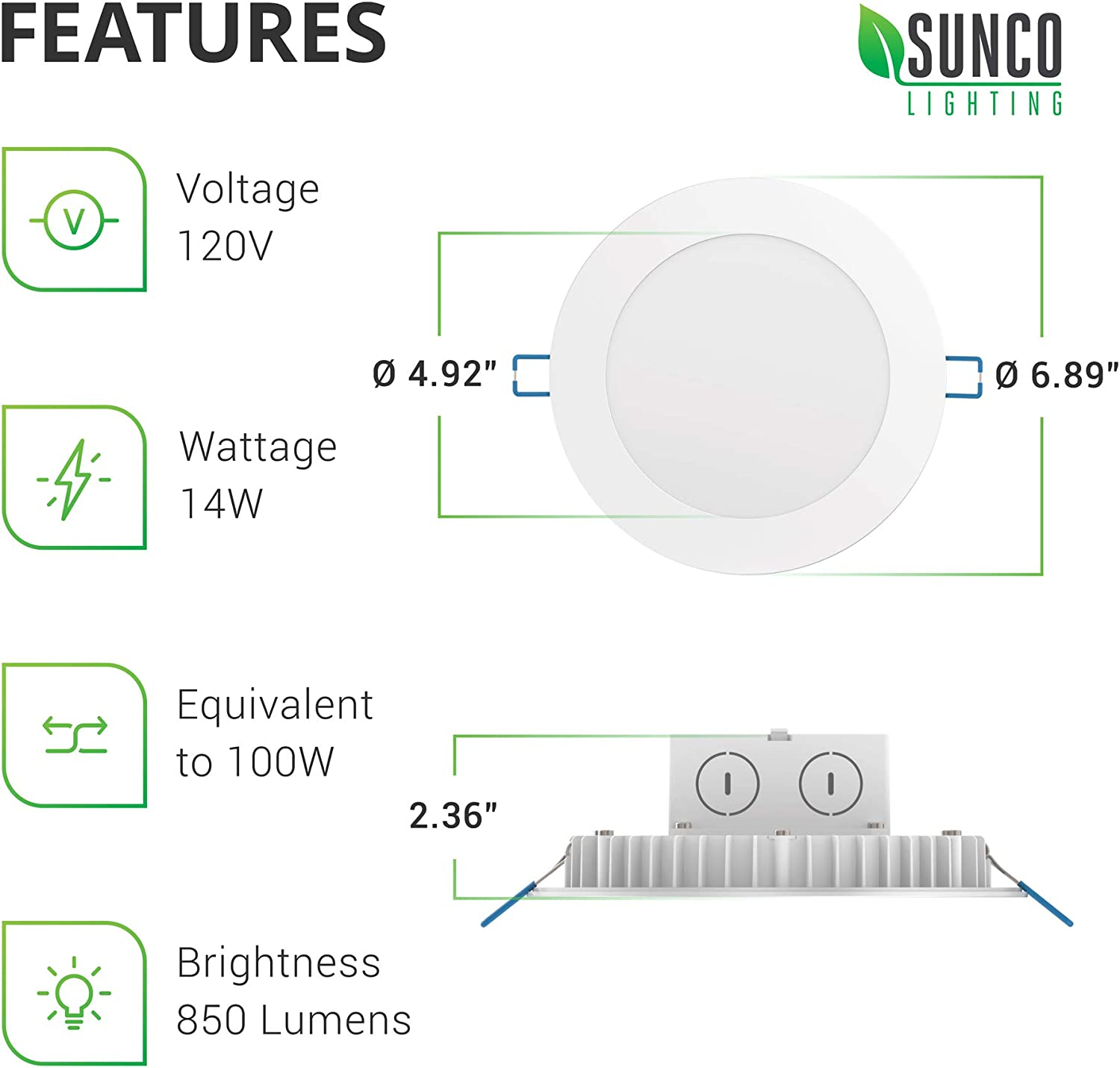 IC Rated Integrated Junction Box ETL /& Energy Star 2700K Soft White 850 LM Recessed Jbox Fixture 14W=100W Dimmable Sunco Lighting 16 Pack 6 Inch Slim LED Downlight Retrofit Installation