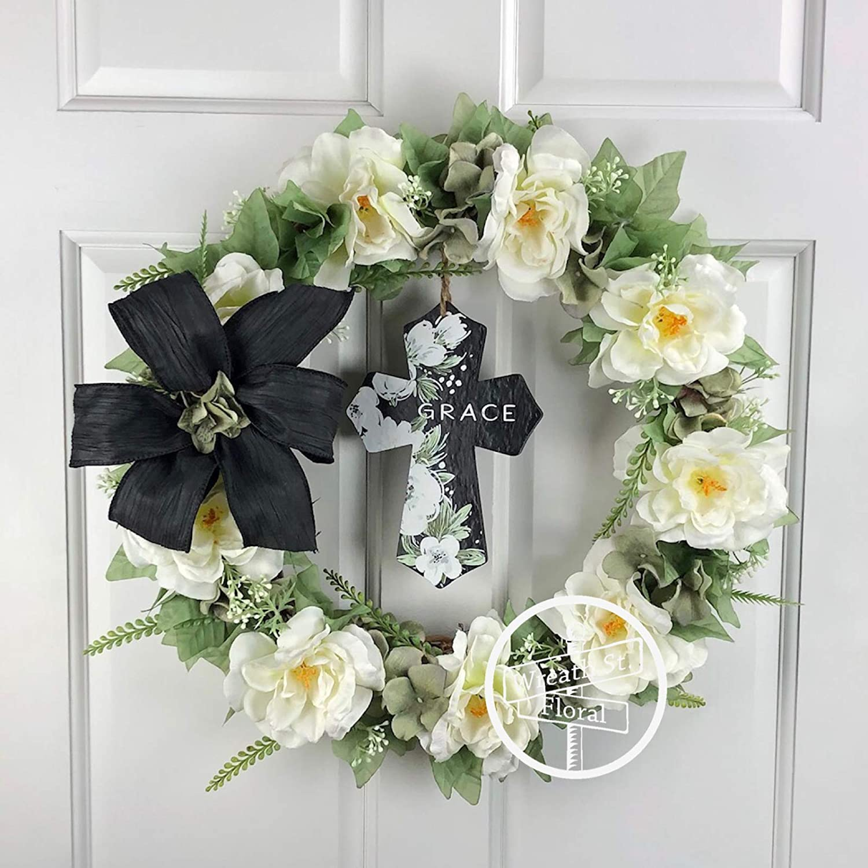 16 Be Still Cross Wreath Be Still Cross Door Decor Cross Floral Greenery Wreath Cross Flower Door Decor Religious White Green Cross Wreath