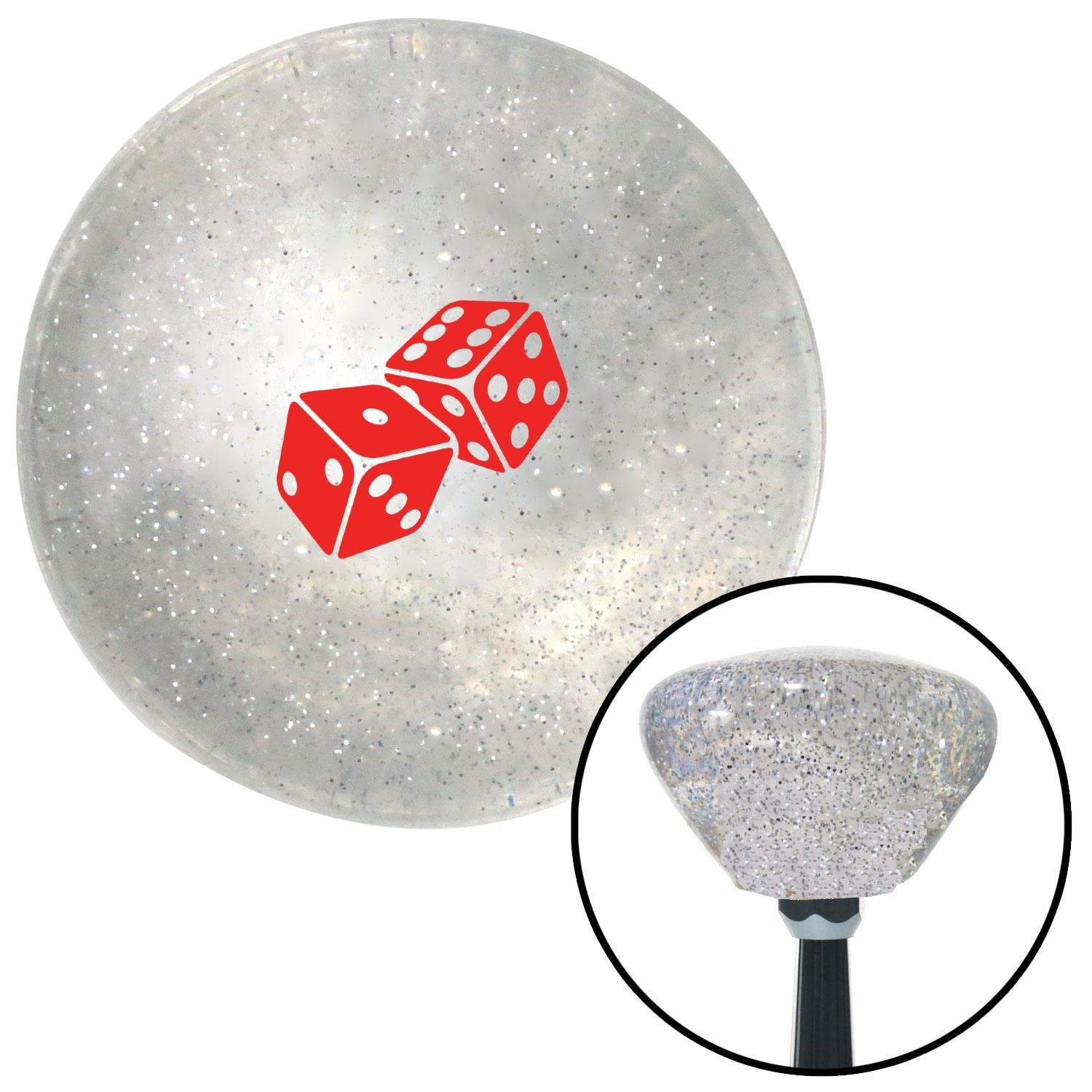 Red Set of Dice Clear Retro Metal Flake with M16 x 1.5 Insert American Shifter 285881 Shift Knob