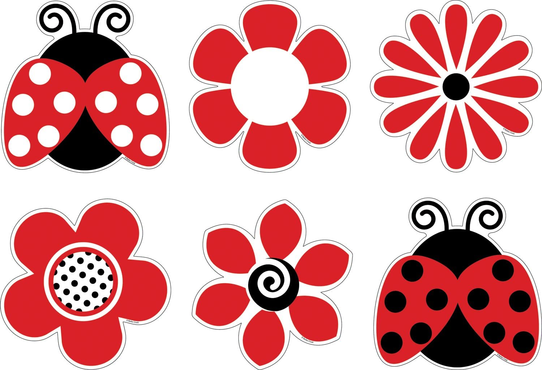 Barker Creek Bulletin Board Decorations, Ladybugs & Posies, 36-Count (LL-2201)