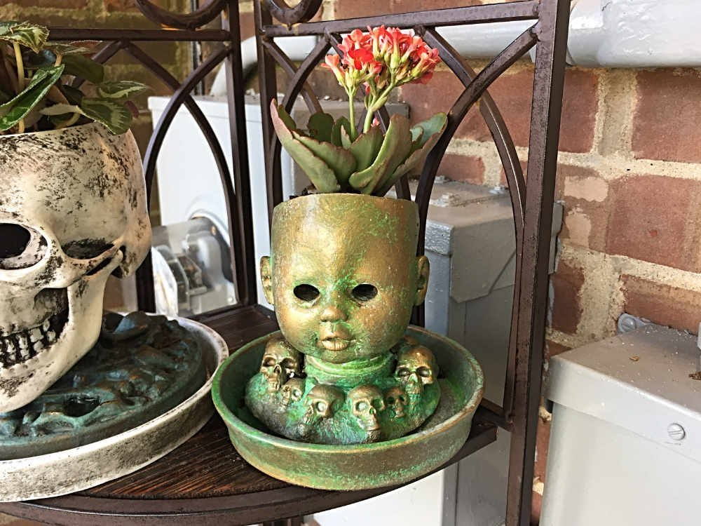 Baby Doll Head Planter with Saucer