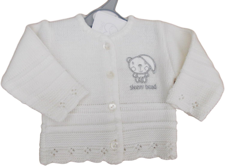 Tiny Baby BNWT Premature Preemie Unisex White Sleepy Head Knitted Cardigan