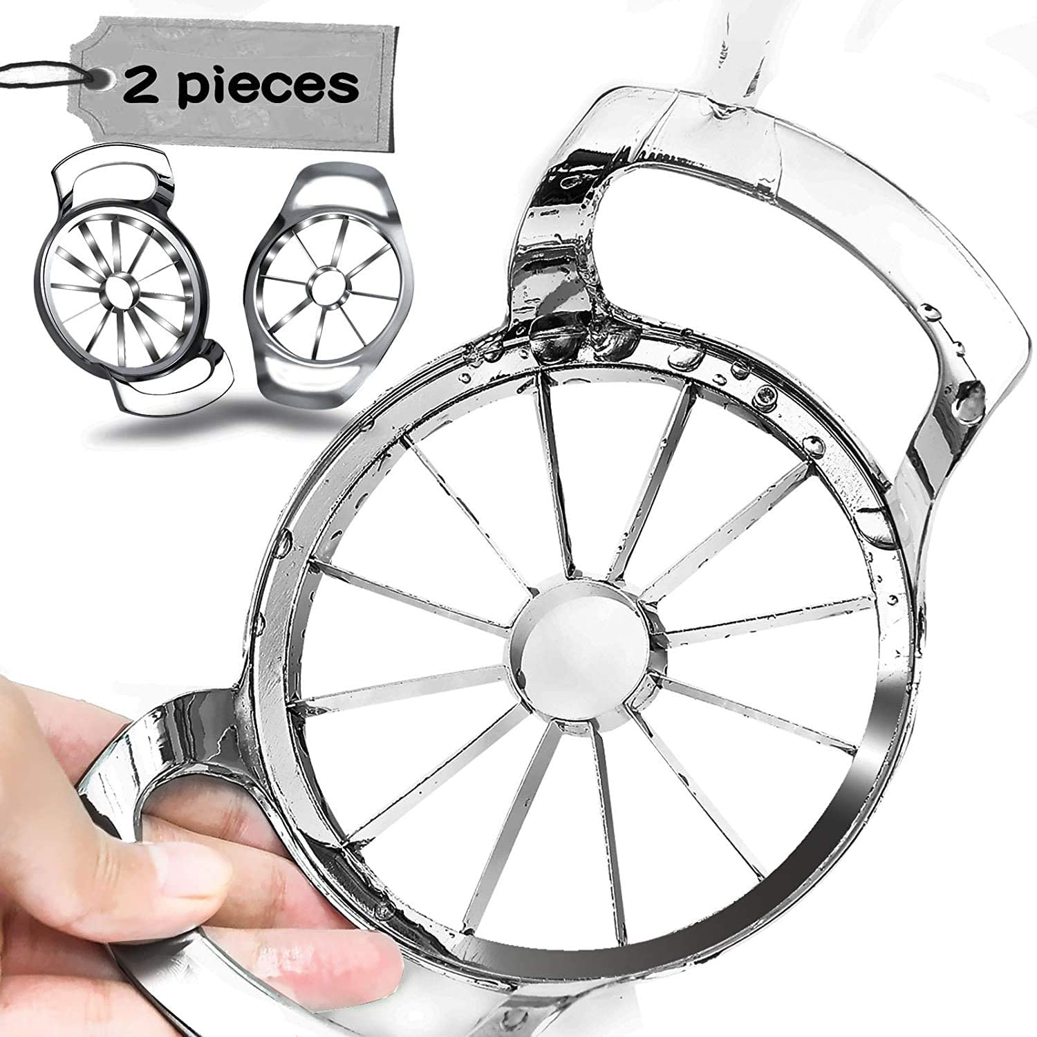 2 pieces Extra Large Apple Slicer Set, 12 Blade and 8 Blade Big Apple Slicer Corer Cutter Heavy Duty , Fruit Peeler Stainless Steel Kitchen Gadgets Cooking Tools 8 Slices and 12 Slices Set