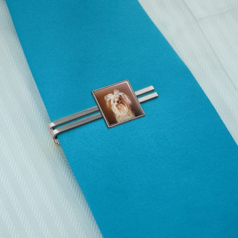 Silver or Gold Graphics and More Yorkie Yorkshire Terrier Dog Bow in Hair Square Tie Bar Clip Clasp Tack