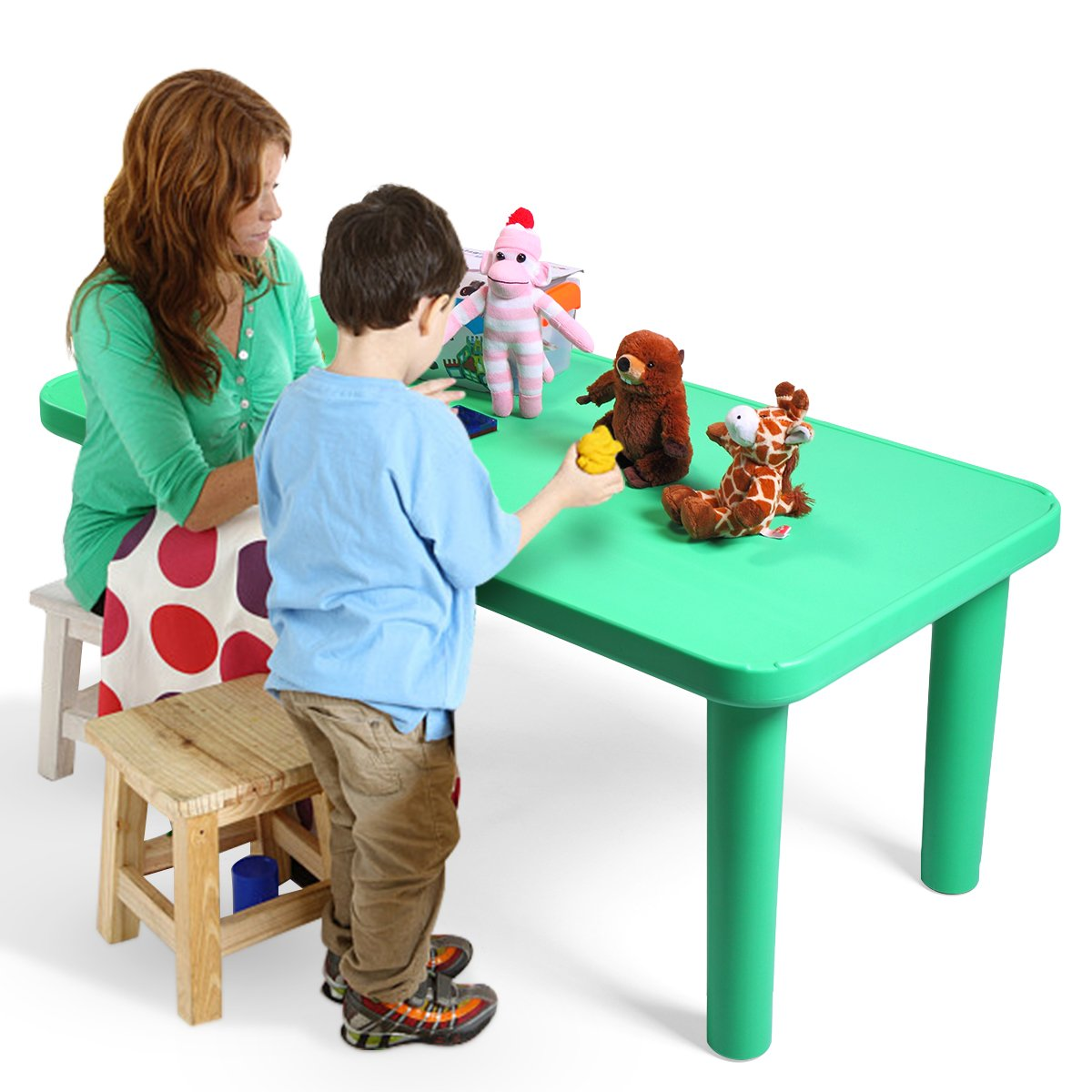 LAZYMOON Green Rectangular Kids Plastic Table Portable Activity School Home Furniture for Toddler Children