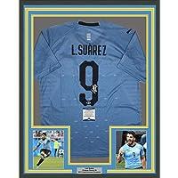 6ae7e9261 Framed Autographed Signed Luis Suarez 33x42 Uruguay Blue World Cup Soccer  Futbol Jersey Beckett BAS