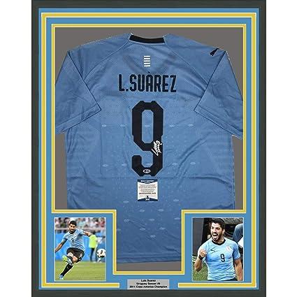 546a16f3c9845 Framed Autographed/Signed Luis Suarez 33x42 Uruguay Blue World Cup ...