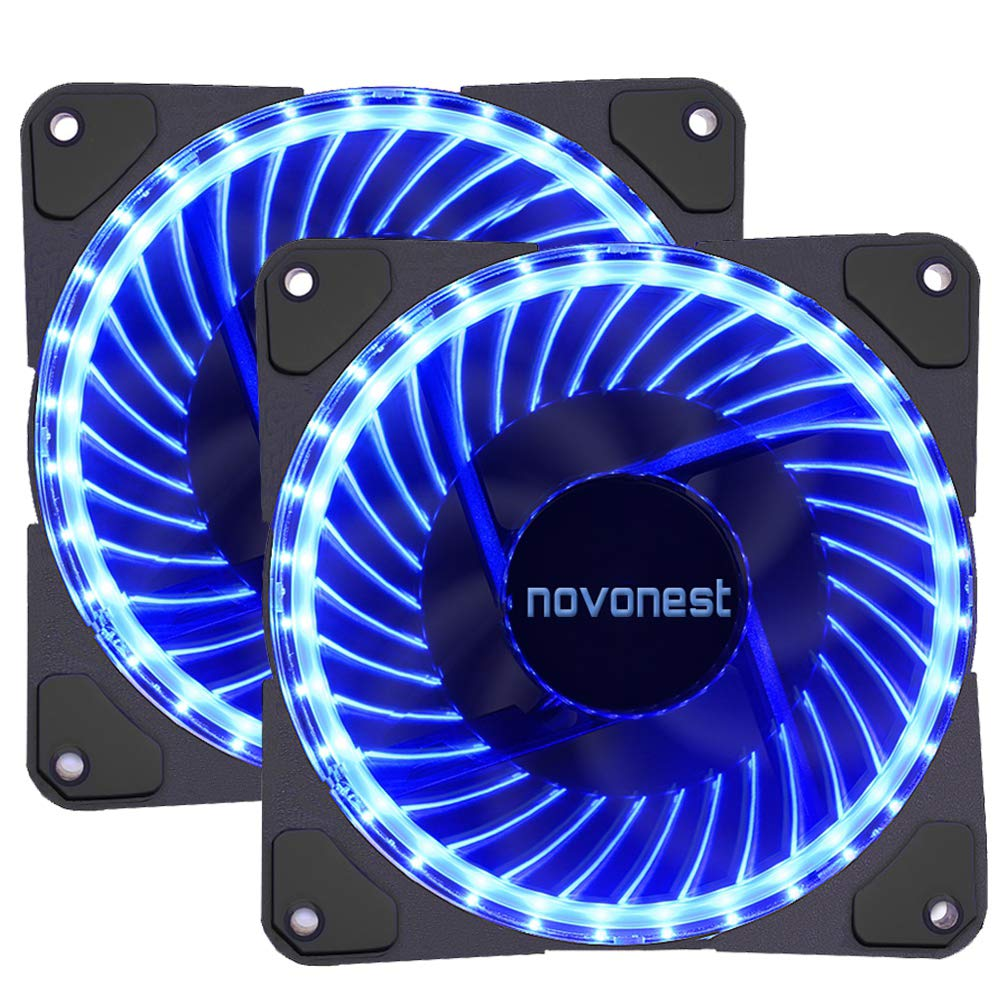 120mm PWM case fan 2PACK Solar Eclipse Hydraulic Bearing quiet cooling case fan for computer 32 leds MIRAGE Color LED fan 4 pin with Anti Vibration Rubber Pads(Blue)