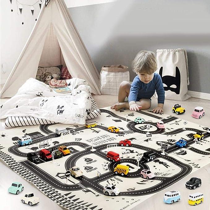 Elesoi Kinder Spielen Mat City Road Geb/äude Parkplatz Karte Spiel Lernspielzeug Teppiche /& L/äufer