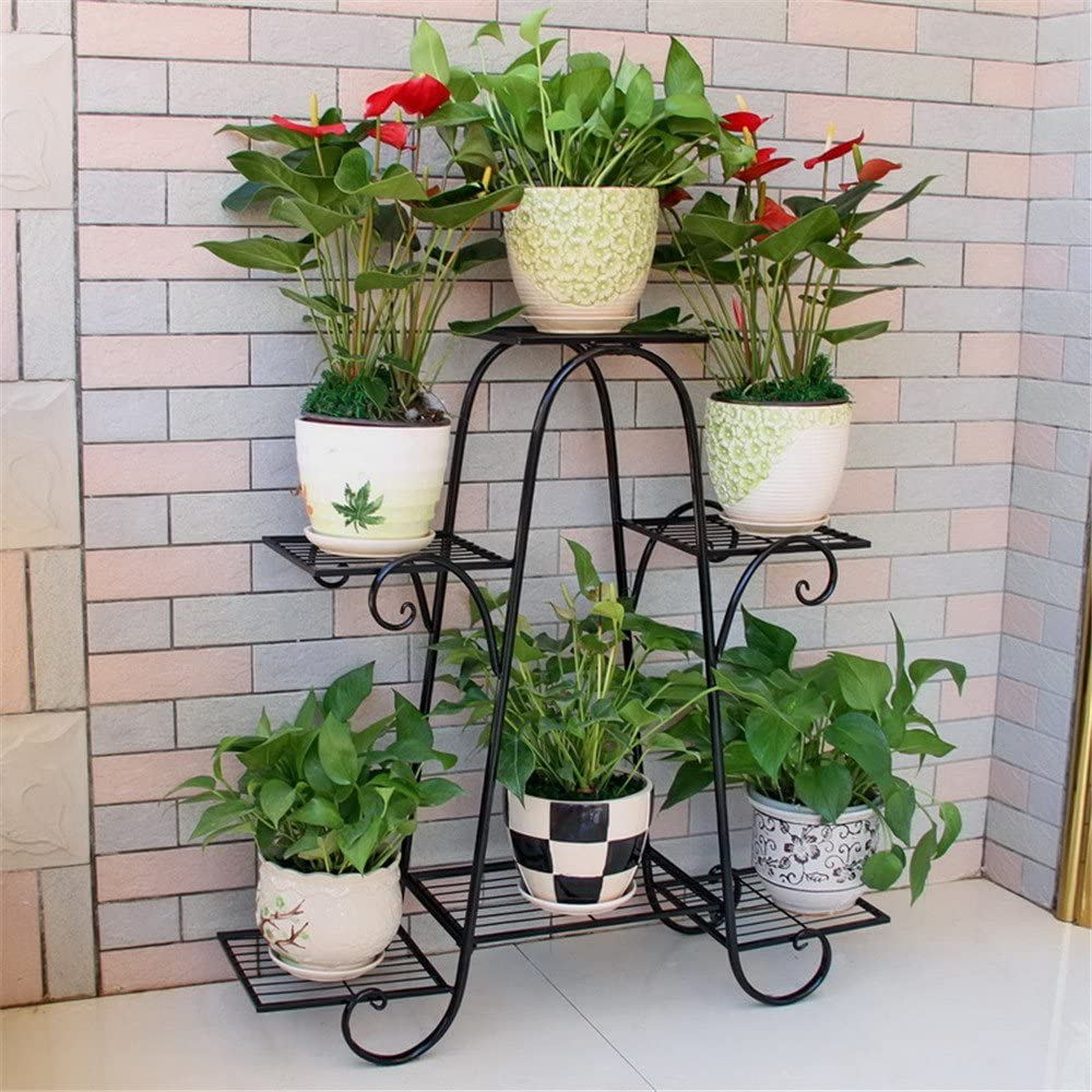Multi-Layer Floor Multifunctional Flowerpot Frame Balcony Living Room, Black, Large 83X2583Cm Plant Multifunctional Flower Display Stands Wood Pot Shelf Storage Rack Outdoor Indoor Pots Holder Than