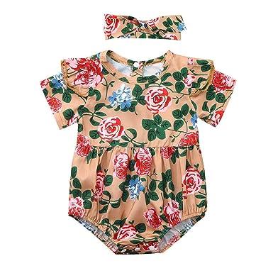 b7493b9e5 Amazon.com  Baby Girl Floral Short Sleeve Bodysuit Romper Newborn ...