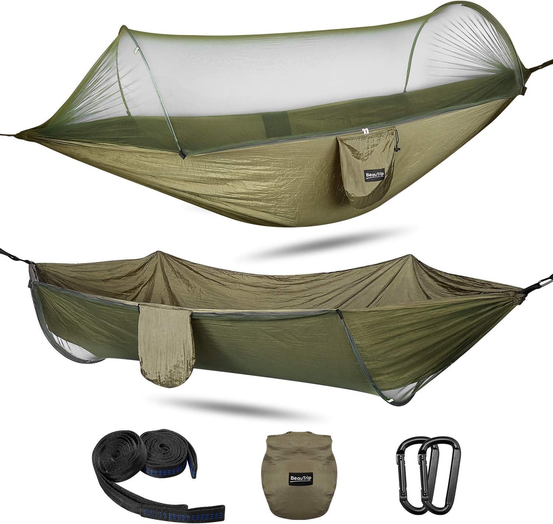 BEAUTRIP Hamaca de gran tamaño con correas para mosquiteros, tela de paracaídas liviana Cama de hamaca Columpio Columpio Cama para dormir para acampar al aire libre Senderismo Patio de viaje