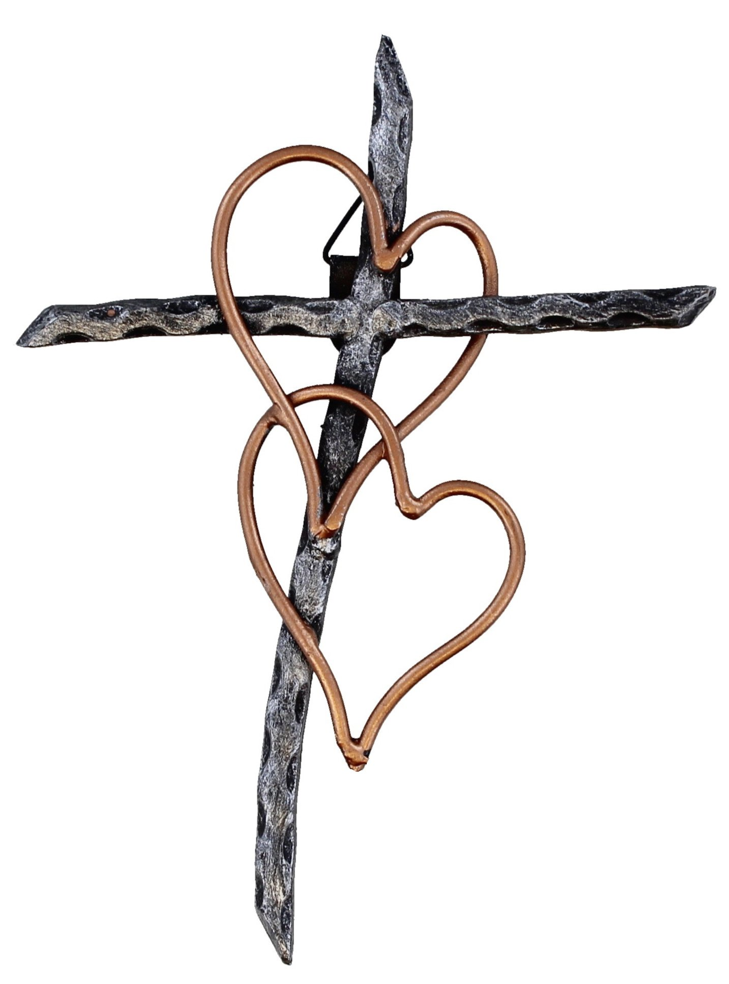 Entwined Hearts Decorative Welded Metal Wall Cross - Two Hearts Joined - Small Version