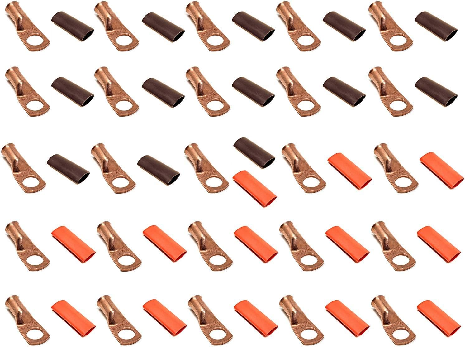"""25pcs 4 Gauge In stock AWG x 3 8"""" Cable Sale Special Price Lug Termi UL Listed Pure Copper"""