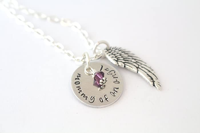Amazon mommy of an angel birthstone necklace angel baby mommy of an angel birthstone necklace angel baby memorial gift miscarriage pregnancy aloadofball Choice Image