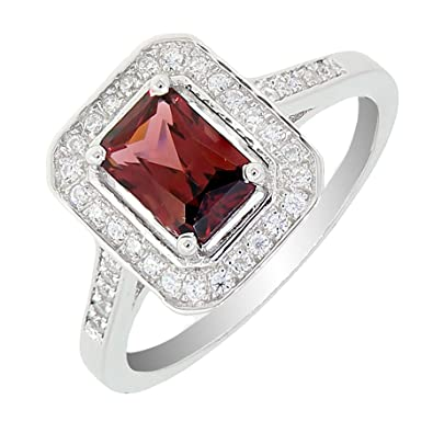Vintage Style Sterling Silver Emerald Cut Natural Mozambique Garnet Ring 1 5 CT
