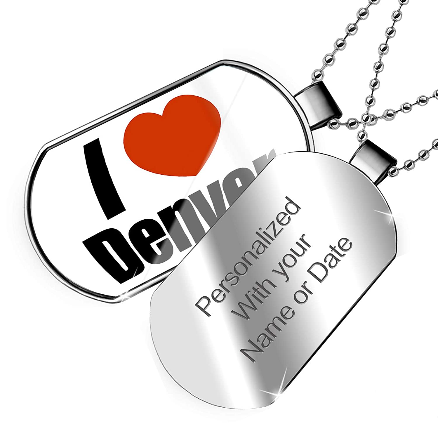NEONBLOND Personalized Name Engraved I Love Denver Region Colorado United States Dogtag Necklace