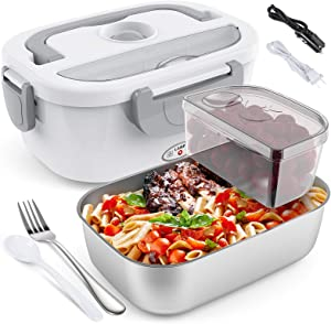 Electric Lunch Box COCOBELA Portable Food Warmer Lunch Box for Car and Home, Food Heater for Adults, 2 Compartments Removable Stainless Steel Container Fork & Spoon