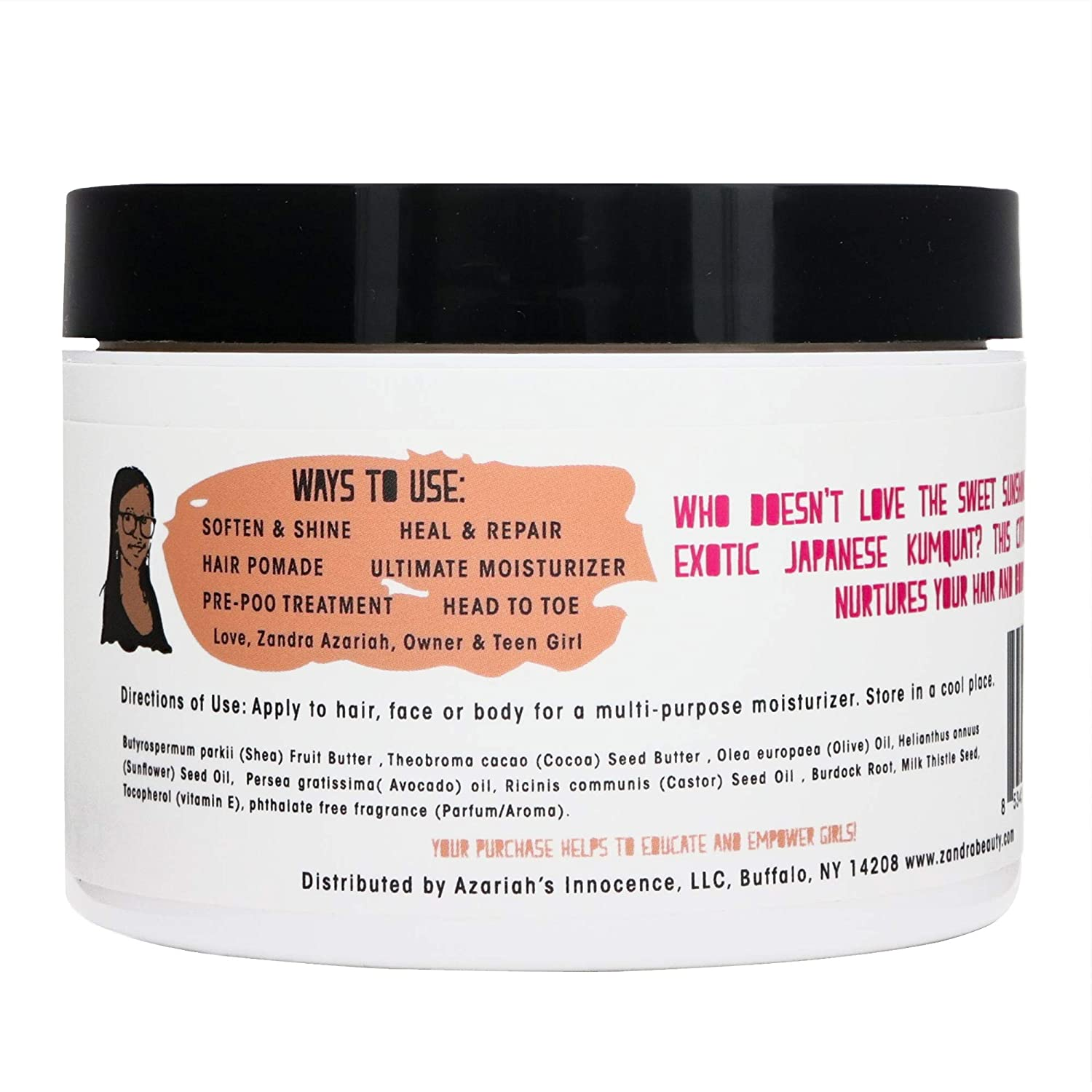 Zandra Hair Body Souffle – Solid to Liquid Oil For Skin, Hair and Scalp. Unrefined Shea Butter, Olive, Sunflower, Avocado and Castor Oil – JAPANESE KUMQUAT 8 oz