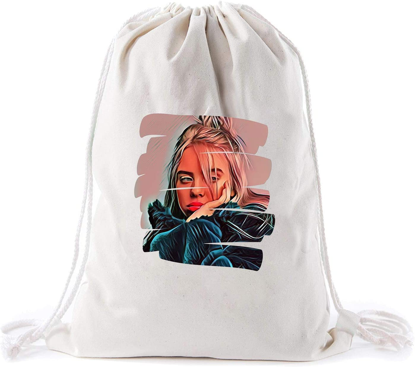 billie eilish Canvas Drawstring Bag Backpack Mens Womens Natural