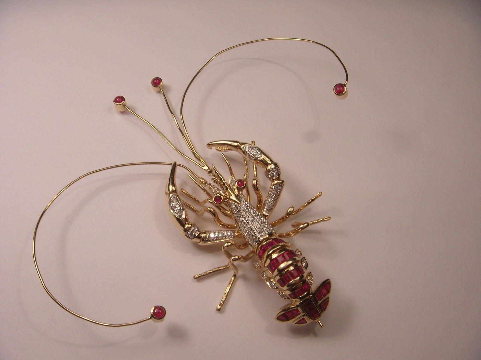 Rare Movable 14K Designer Lobster Crab Handmade Ruby Diamond Brooch Pin