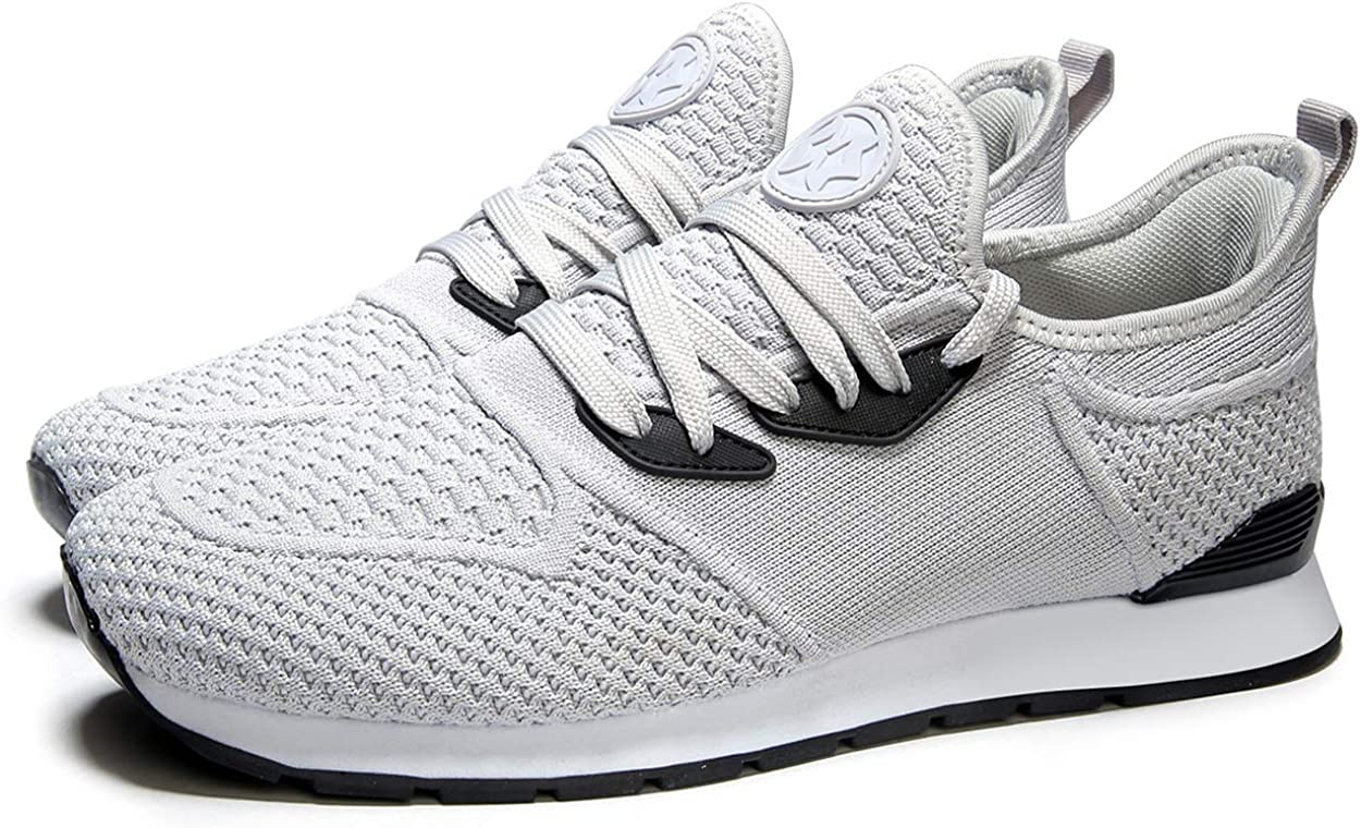 Womens Trainers Mens Sneakers Lightweight Running Shoes Gym Sport Fitness Walking Shoes Light Grey