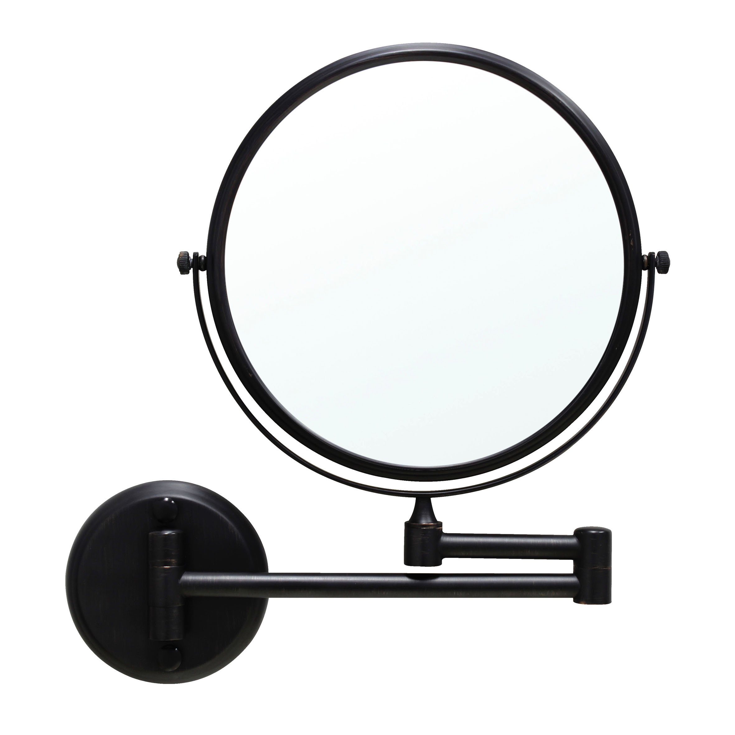MODONA 8'' Two-Sided 1X and 5X Wall-Mounted Mirror, Made of BRASS - Rubbed Bronze - 5 Year Warrantee