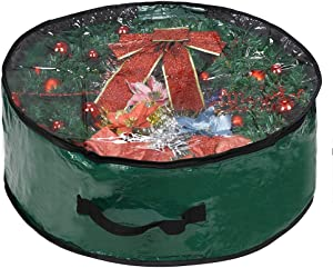 """ProPik Christmas Wreath Storage Bag 30"""" - Garland Holiday Container with Clear Window - Tear Resistant Fabric - 30"""" X 30"""" X 8"""" (Green)"""