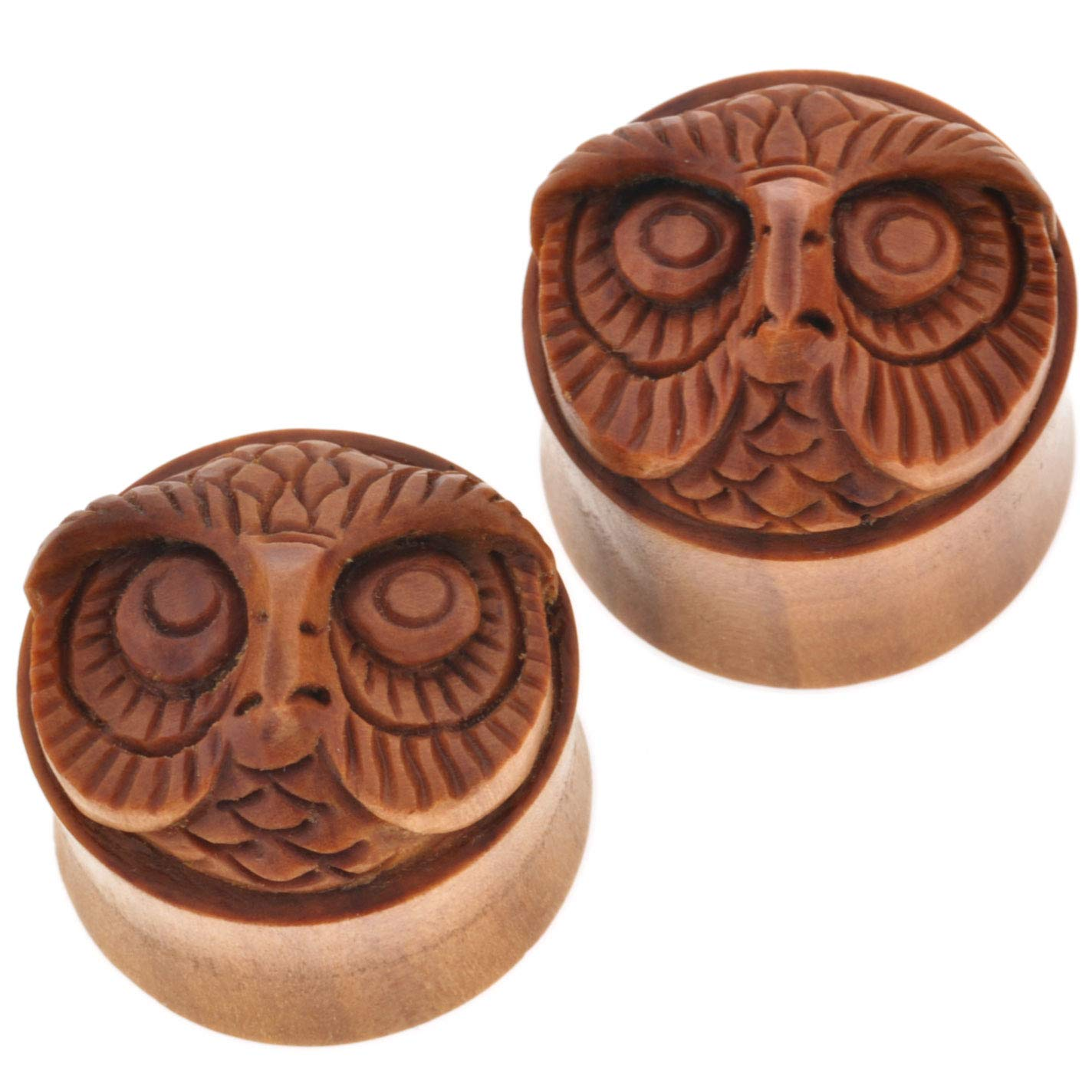 Pair of Sabo Wood Mr Owl Plugs