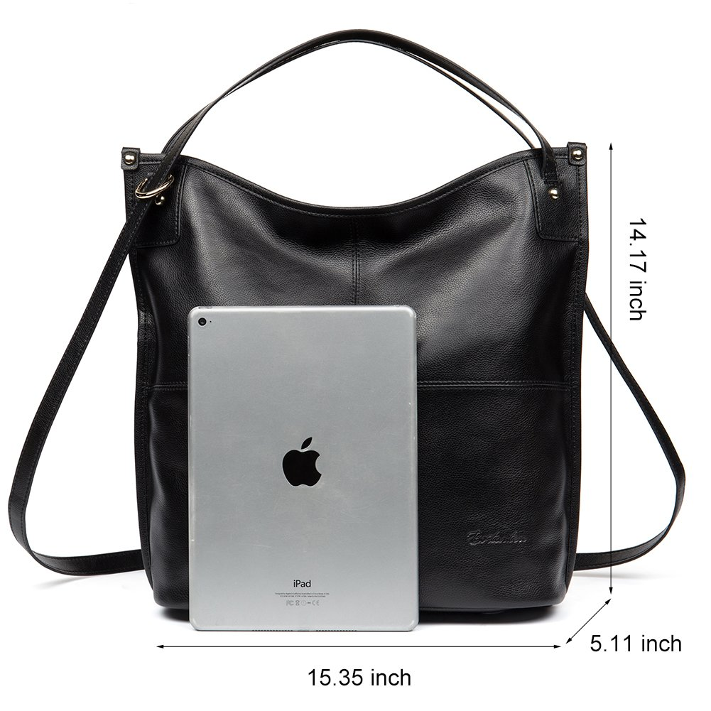 Mother's Day Gifts BOSTANTEN Women Leather Hobo Handbags Tote Purse Top-handle Shoulder Bag on Sale Black by BOSTANTEN (Image #5)